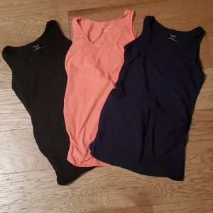 Side ruched scoop neck Maternity tank top Set of 3